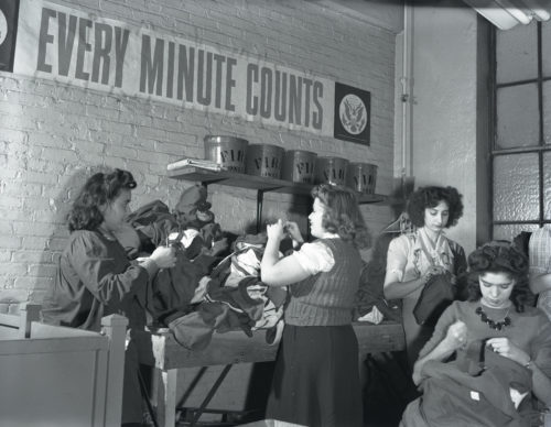 """Every Minute Counts,"" garment workers on the home front, new York, photo by Katherine Joseph, 1942; © Richard Hertzberg and Suzanne Hertzberg; photograph courtesy of the Archives Center, National Museum of American History, Smithsonian Institution"