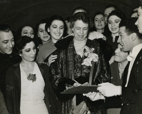 """""""Eleanor Roosevelt with Cast Members of 'Pins and Needles',"""" New York Labor Stage , photo by Katherine Joseph, 1938; © Richard Hertzberg and Suzanne Hetzberg; photograph courtesy of the Archives Center, National Museum of American History, Smithsonian Institution."""