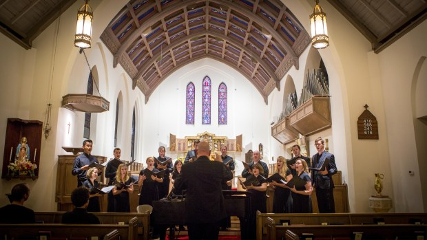 Richard Sparks led the Desert Chorale in choral settings of Shakespeare's words. Photo: Chelsea Call.