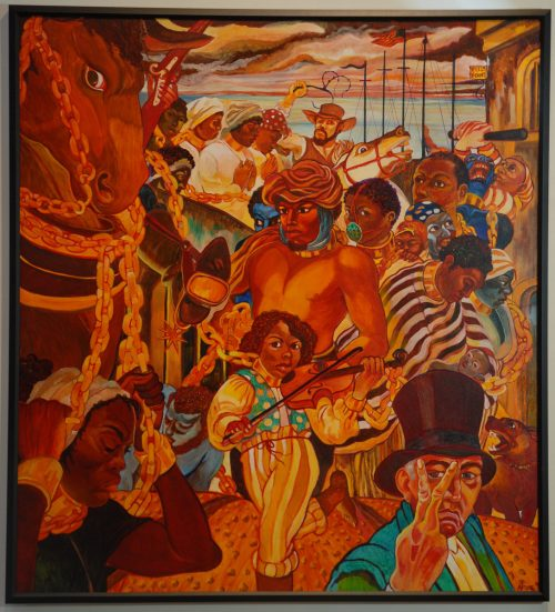 """Arvie Smith, """"Trail of Tears,"""" 2006, oil on canvas, 72 x 60 inches, collection of the artist."""