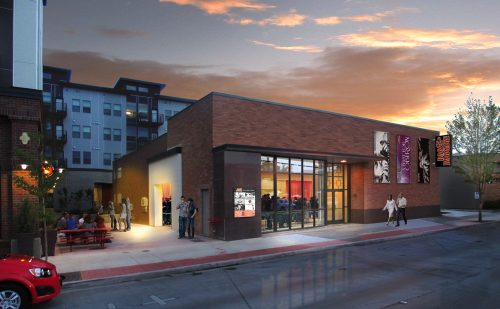 Exterior rendering of the new Bag&Baggage theater in downtown Hillsboro, slated to open in April 2017.  Image: Opsis Architects