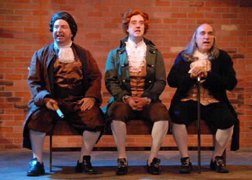 "Formidable trio: from left, Darius Pierce (John Adams), Adam Elliott Davis (Thomas Jefferson), Mark Pierce (Ben Franklin) in ""1776."" Triumph Photography"