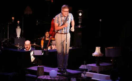"""Musical director Jon Quesenberry (left) and band with Benjamin Tissell in """"Fly by Night."""" Photo: Craig Mitchelldyer"""