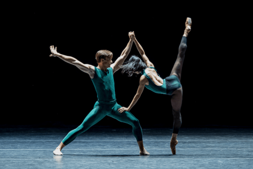 "Peter Franc and Xuan Cheng in ""In the Middle, Somewhat Elevated"" on OBT's ""Giants"" program. Photo: Yi Yin"