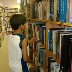 Searching for book...he found the science section!