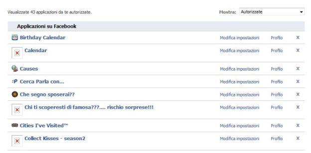 Facebook: rimozione applicazioni