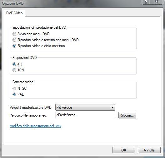 Windows DVD Maker Opzioni Video