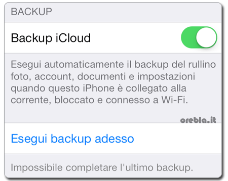 Problema iPhone iOS 7: Impossibile completare l'ultimo backup con iCloud