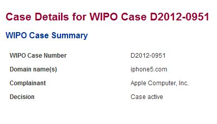 WIPO: richiesta Apple per il dominio iphone5.com