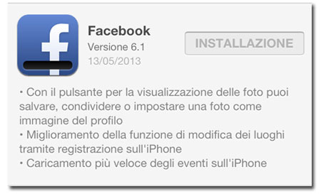 Facebook 6.1 (e 6.1.1) nuovo aggiornamento e migliorie!
