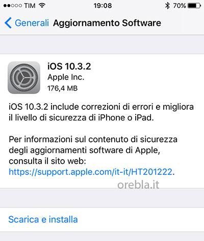 Apple aggiorna ad iOS 10.3.2 correggendo alcuni bug