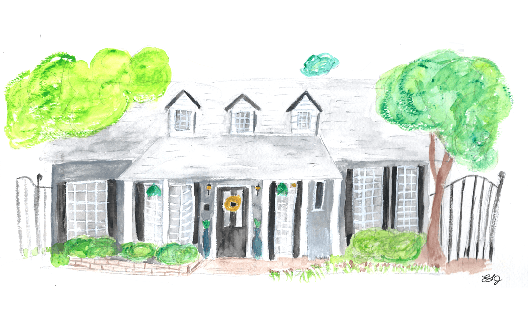 This is a painting of a house I wanted during our search, but it wasn't meant to be.