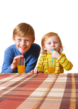 kids drinking organic juice