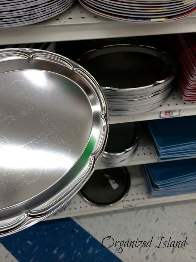 inexpensive organizing solutions include dollar store platters