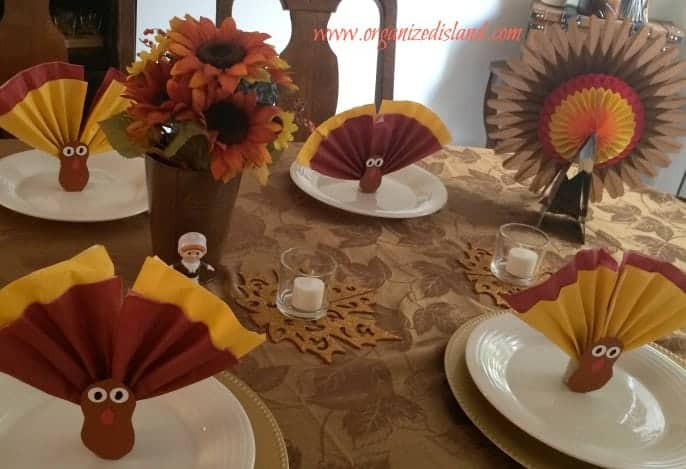 Dollar store thanksgiving decorations organized island
