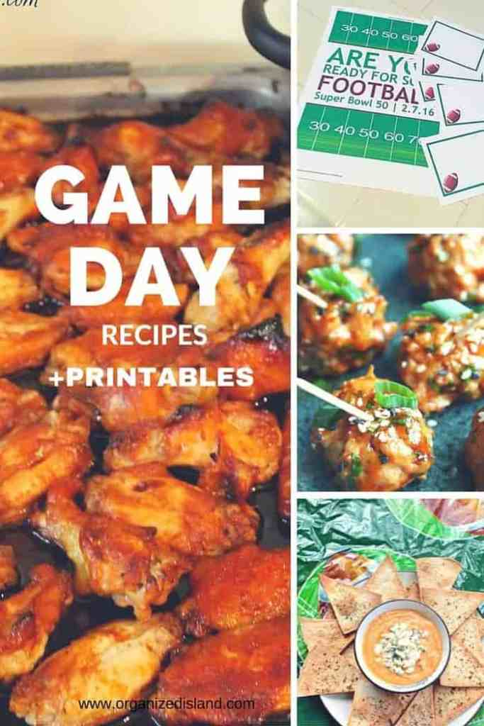 Game Day Recipes, party tips and party printables for the big game!