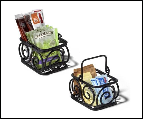 wire basket tea storage