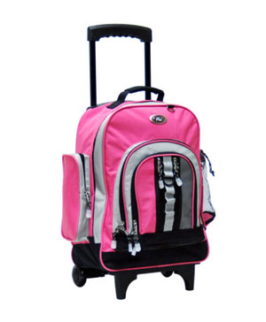 rolling backpack pink