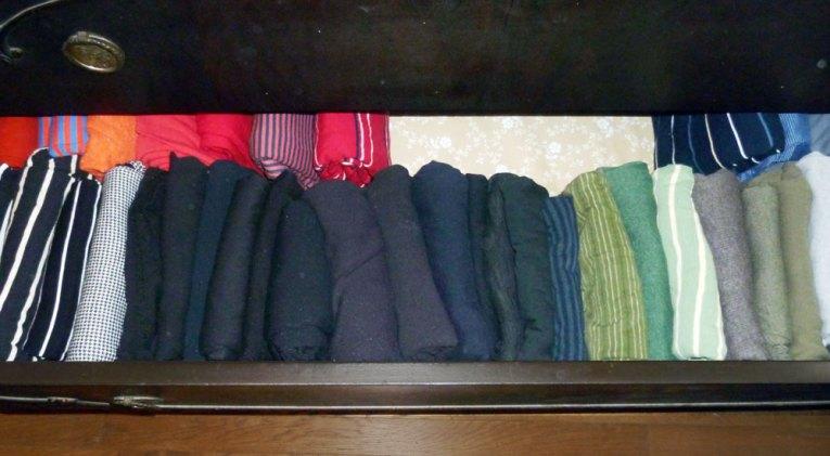 folding shirts in drawer