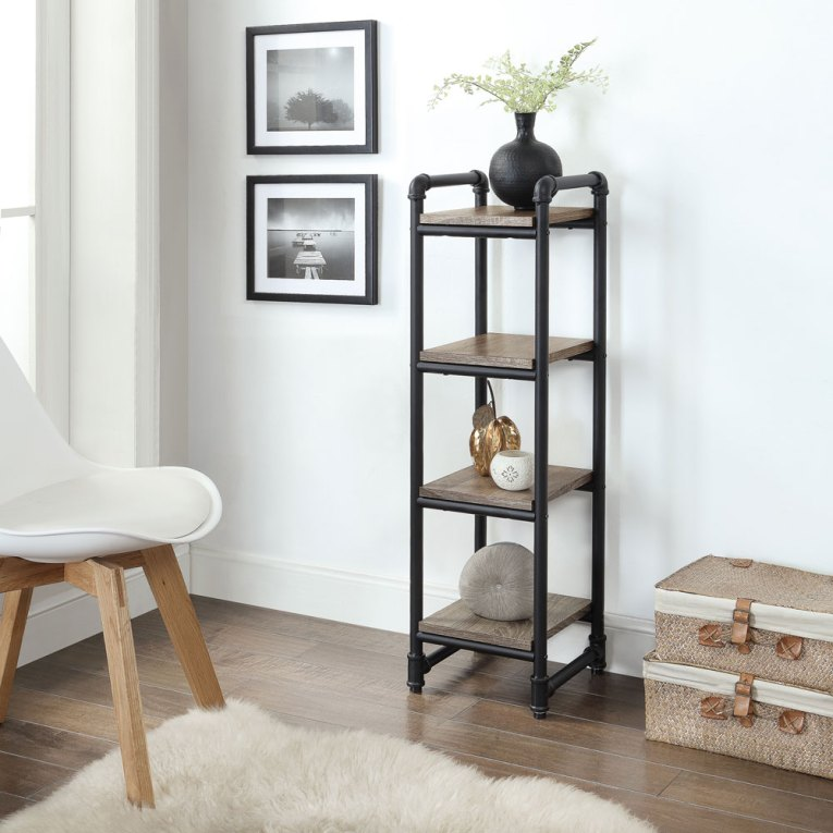 Industiral Pipe Furniture 4-Shelf Tower