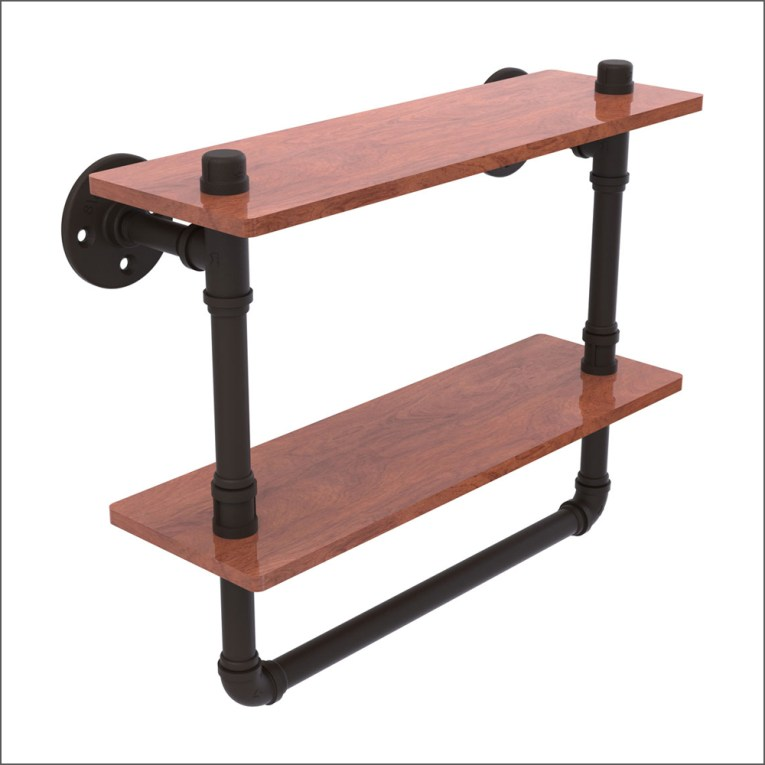 Industrial Pipe-Style Double Wood Shelf with Towel Bar