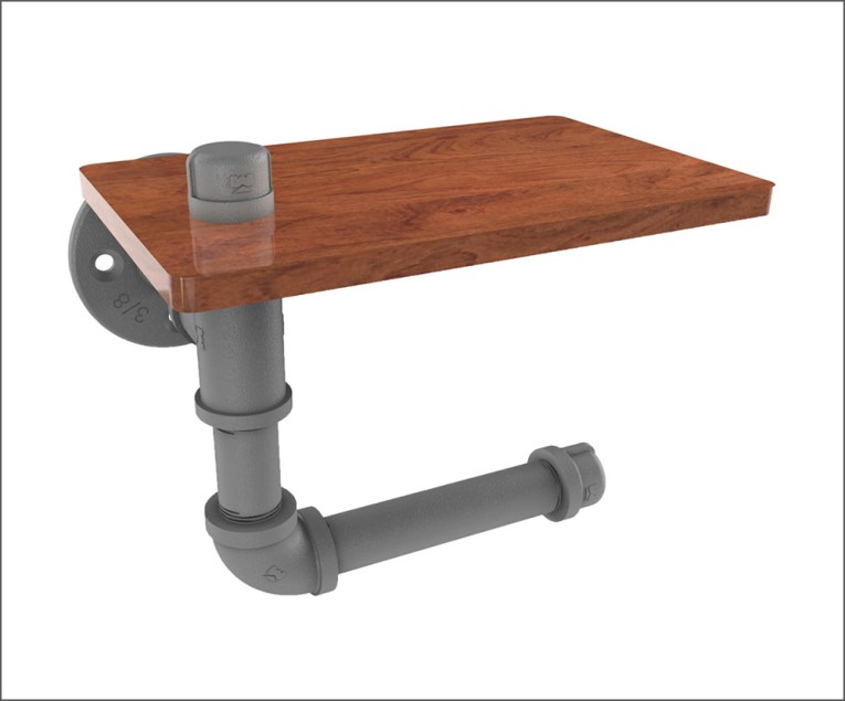 Industral Pipe Style Toilet Paper Holder with Shelf