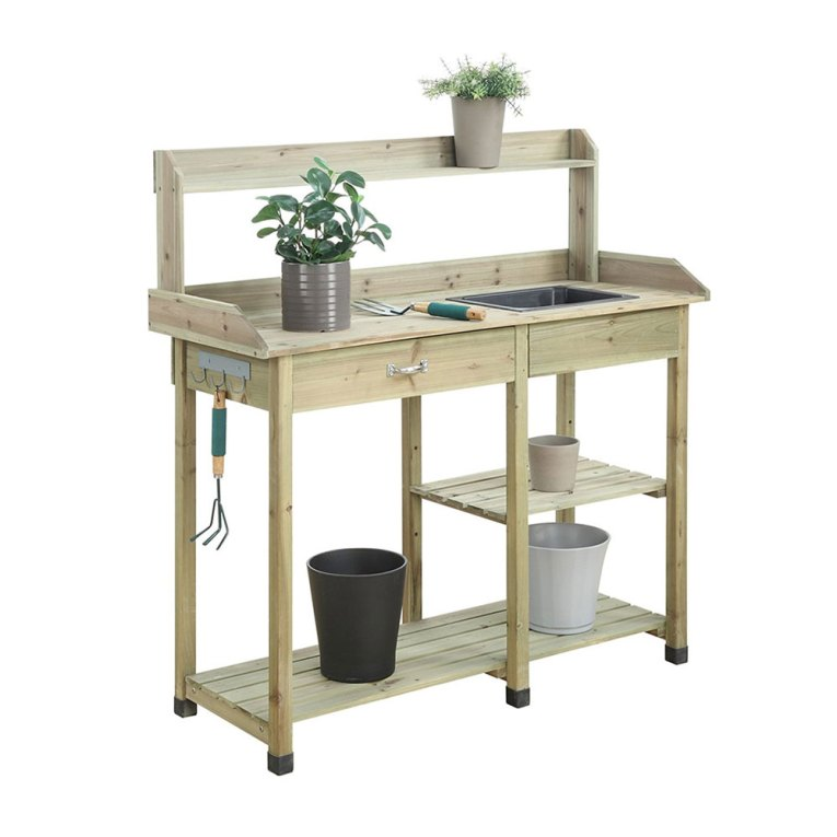 deluxe potting bench with shelves