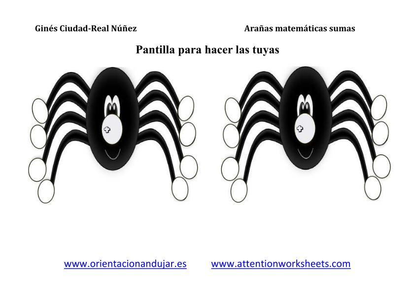 imagenes arañas matematicas plantilla 2 araña sumas_2