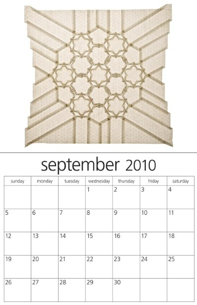 September 2010, Origami Tessellations Calendar