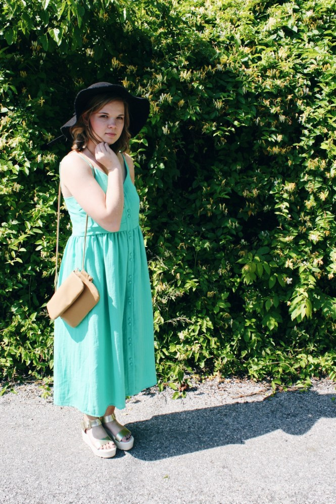 "This Dress is ""Mint"" For Summer. Modeling a mint green, midi style dress, floppy hat, platform sandals, beige cross body, and Giving Key necklace.."