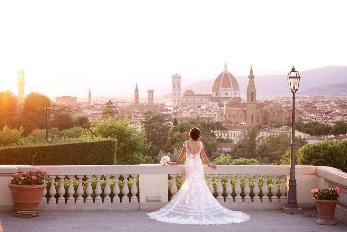 wedding bride Florence sunset