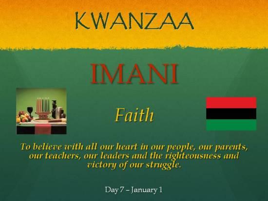 Imani - Kwanzaa - Day 7 Jan 1
