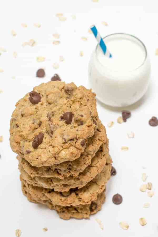 Chewy Oatmeal Chocolate Chip Cookies-3