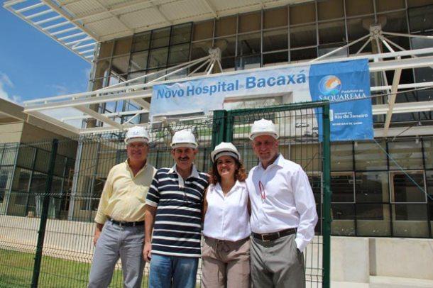 O secretário municipal de Saúde, Dr. Amílcar, o deputado Paulo Melo e a prefeita Franciane receberam Dr. Sergio Côrtes. (Foto: Edimilson Soares)