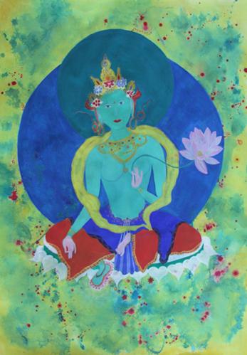 Green Tara, 2010, mixed media