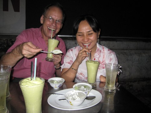Tuyet and Lee dig into desert - durian/avocado smoothie!