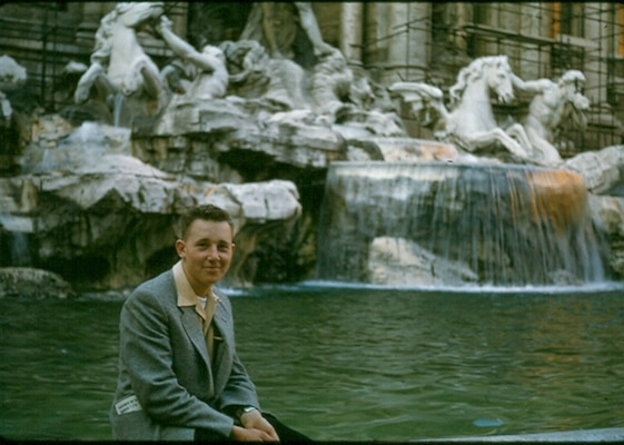 My father in 1956 at Trevi Fountain