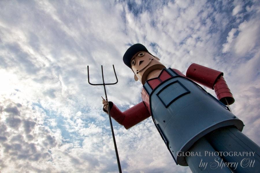 Giant tin man metal sculpture