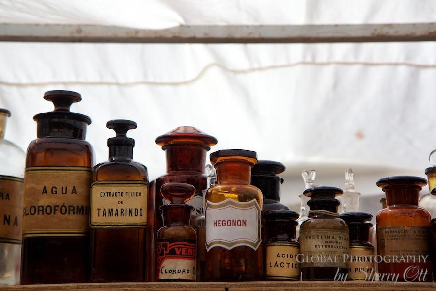 Old bottles at the antique market