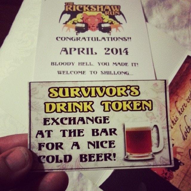 Rickshaw Run Survivors Beer token