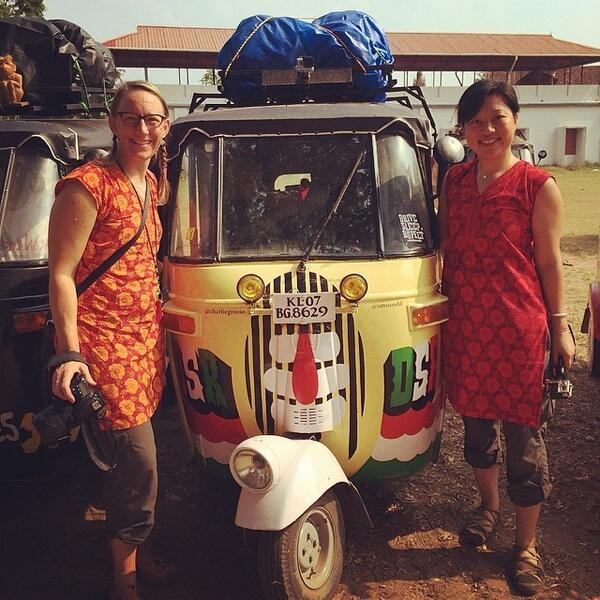 Sherry and Charlie get ready to ride their Rickshaw
