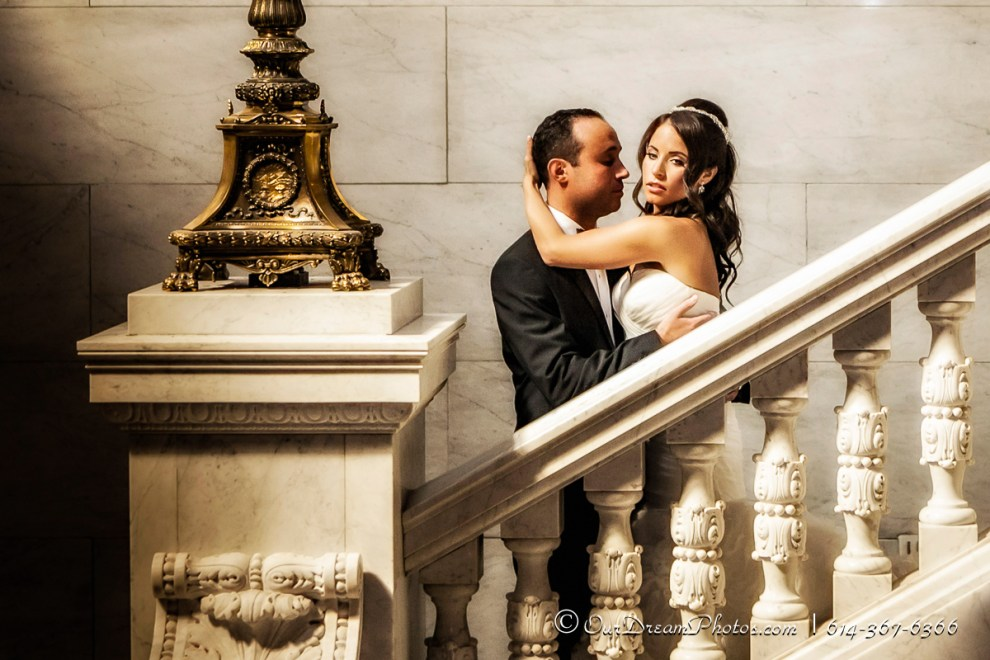 Formal photos before the wedding ceremony of Rebecca Kerner and Joe Reiss photographed Sunday, September 1, 2013 at the Ohio Statehouse. (©James D. DeCamp | http://OurDreamPhotos.com | 614-367-6366)