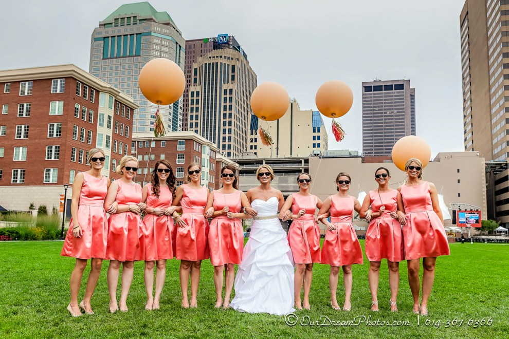 Formal & fun photos after the wedding of Michelle Hibbard and Kyle Stechschulte photographed Saturday, July 26, 2014 at the Columbus Commons. (© James D. DeCamp | http://OurDreamPhotos.com | 614-367-6366)