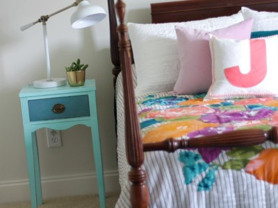 Aqua and Turquoise Nightstand Makeover