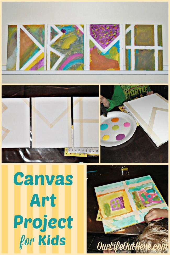 This canvas art project is easy enough for all ages to enjoy.  And, you'll love to hang the final product on your wall!  #kidcrafts #kidactivities #artproject www.ourlifeouthere.com