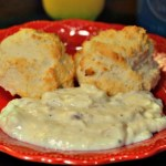 This sausage gravy is easy to make and will remind you of grandma's home cooking! Even better, the recipe gives freezer instructions for a quick, hot breakfast! #biscuitsandgravy #sausagegravy #homecooking