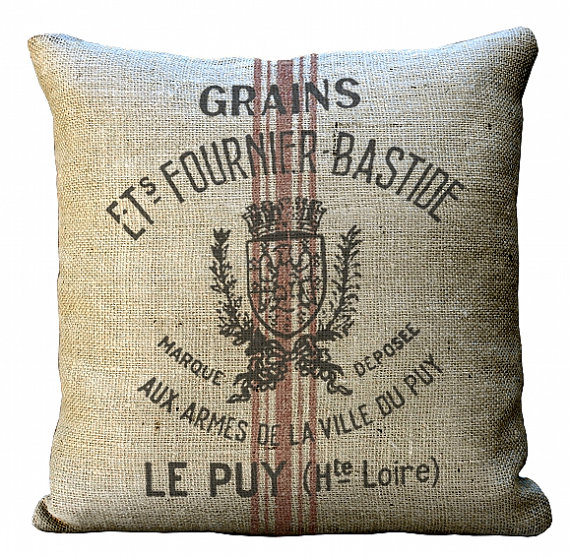 Burlap Reproduction Grain Sack  20x20 or 18x18 or 16x16 or 14x14 Inch  Pillow Cover