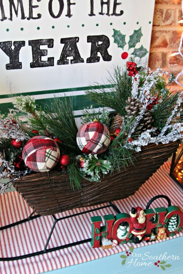decoupaged plaid christmas balls / Christmas Front Porch / www.oursouthernhomesc.com