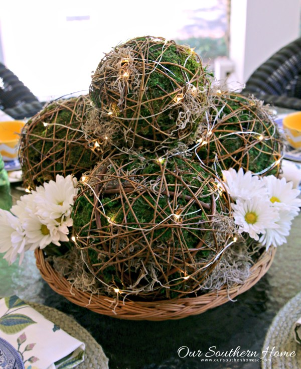 Decorating with string lights: Moss Sphere Tutorial with Our Southern Home