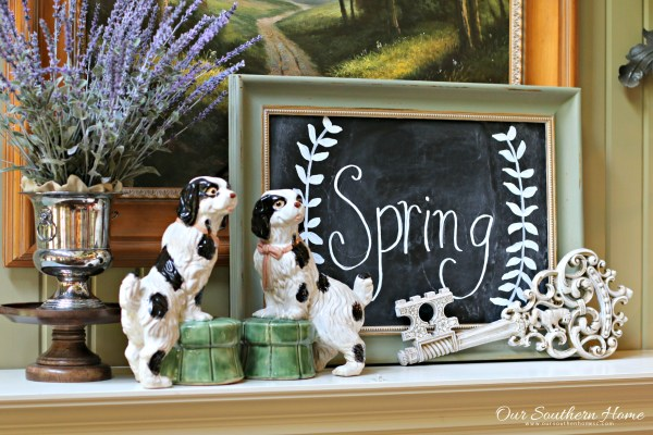 Spring mantel with thrift store finds by Our Southern Home